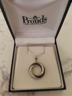 Cubic Zirconia & Black Circle Pendant. Sterling Silver