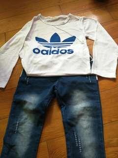 全新棉T+牛仔褲