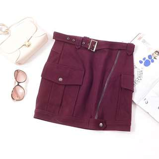 *BN* Wine Red Belted Skirt in Size S