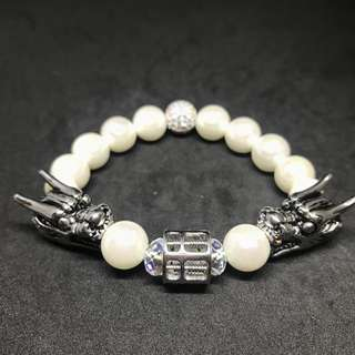 Silver Stainless Steel Dragon and Abacus With Crystal Ball Charm Shell Pearl Bracelet