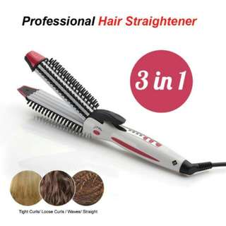 FREE POS Ready Stock 3 In 1 Professional Corn Hot Anion Curl Hair Straightener Iron