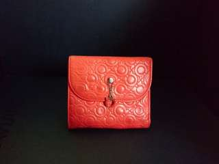 Salvatore Ferragamo lambskin orange wallet 橘紅色小羊皮銀包