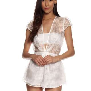 Cameo White Mesh Playsuit