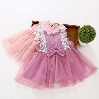 Korea Stylist Ribbon lace Baby Girl Sleeveless Dress