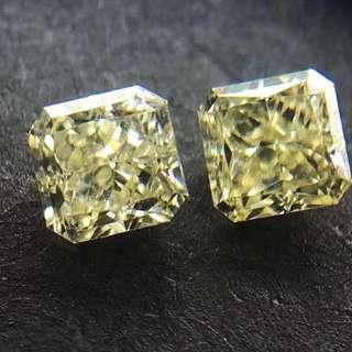 天然 黃鑽 鑽石 一對