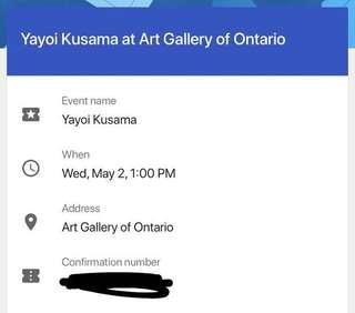 TWO YAYOI KUSAMA TICKETS