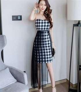 Checkered Mesh Dress