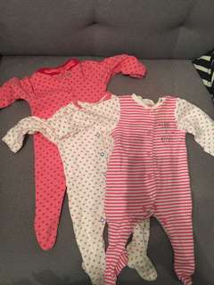 Mothercare 3pc Sleeping Suit - Hearts