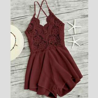 Burgundy lace backless playsuit/romper