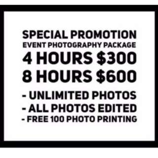 PROMOTION EVENT PHOTOGRAPHY PACKAGE 2018 /2019