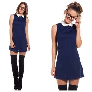 Navy Shift Mini Dress With White Collar Size 8