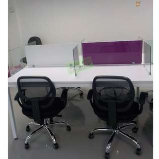 LINEAR WORKSTATIONS W GLASS DIVIDER PURPLE w WHITE STICKER