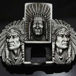 American Indian Belt Buckle With Lighter  Free Shipping