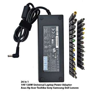Universal Laptop Power Adapter Charger 19V 120W (26 Compatible Heads are included) ASUS HP Acer Toshiba Sony Samsung Dell Lenovo Msi Aftershock