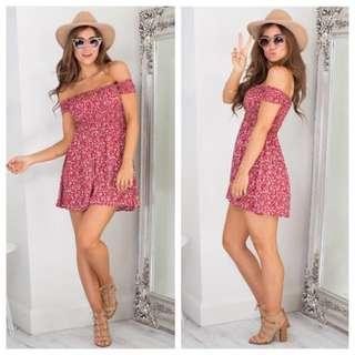 Floral Print Off Shoulder Mini Dress Size 8