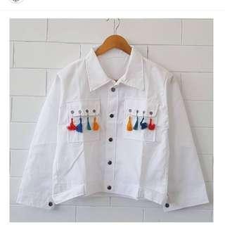 Jacket parka white pompom