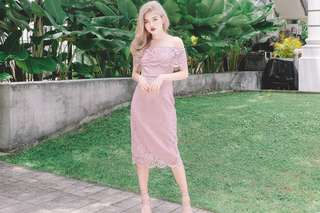 BRAND NEW MFW Lace Off Shoulder Midi Dress in Pink