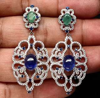 Blue sapphire with emerald dangling earrings!!