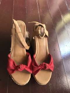 Red Wedged Sandals