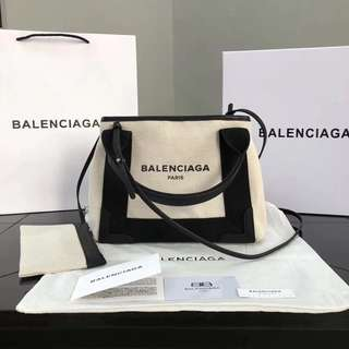 BALENCIAGA 巴黎世家 定制帆布配牛皮 黑色帆布購物袋