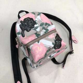 Coach Mini Charlie Backpack with Camo Rose Floral Print