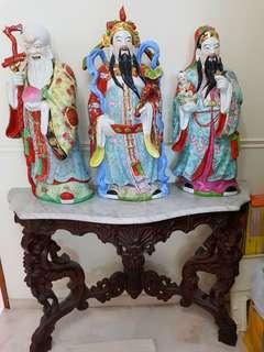 Fu Lu Shou display and Marble half-moon Table