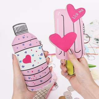 [PREMIUM GIFTS] Cute Girls Korean Pink Ice Cream Cone Stick Bottle Coin Purses Keychains Gifts