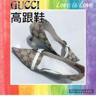🚚 Gucci 卡其色帆布高跟鞋 正品 尺寸:37.5