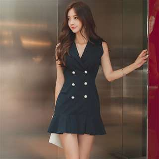 Office: Black Modern Tailored Collar Double-Breasted Fishtail Tank Dress (S / M / L / XL) - OA/HHE042611