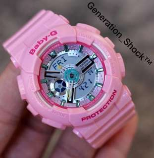 RARE🌟SEEN CASIO BABYG DIVER WATCH : 1-YEAR OFFICIAL WARRANTY: 109% Originally Authentic Baby-G Shock Resistant In GLOSSY Baby-Pink with Rainbow Surface Colours ABSOLUTELY TOUGHNESS Best For Most Rough Users : BA-110CA-4ADR / BA-110 / BA110