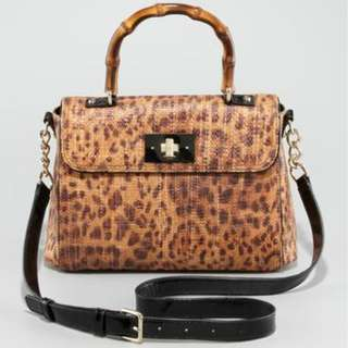 Authentic Kate Spade Tiki Little Nadine Leopard Rattan Satchel Bag