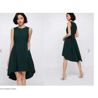 Love Bonito Alda Asymmetrical Dress (Size S, forest green)