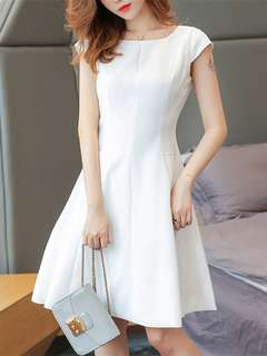 Office: White Simple Round Neck Slim Waist Short Sleeve Dress (S / M / L / XL) - OA/HHE042626