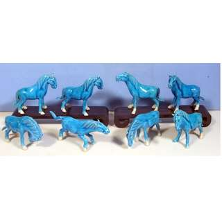 Vintage Chinese turquoise porcelain horses full set of 8 circa 1950 -70 unused