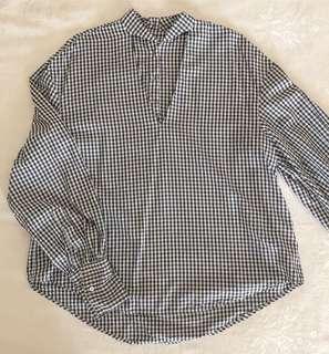 Zara gingham oversize blouse