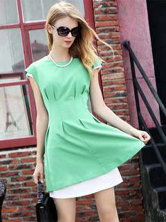 Office: Green Elegant Pleated Fitted Waist Round Neck Fake Two-piece Dress (S / M / L / XL) - OA/KKD010205