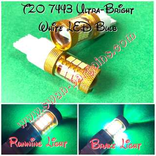 WHITE T20 W22W 7443 3156 54 SMD Dual Voltage Source with Projector Lens LED Light Bulb Reverse Running & Brake Light Bulb Replacement