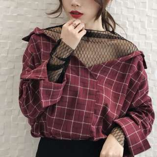 Korean two-piece plaid top
