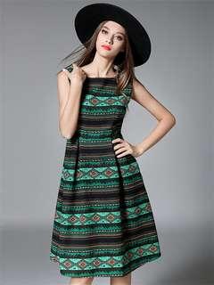 Casual: Green European Bohemia Pleated Waist Stripes Tank Dress (S / M / L / XL / 2XL) - OA/HHC091336