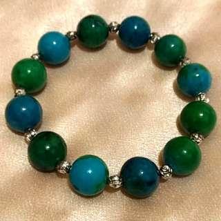 14mm藍綠礦石手珠