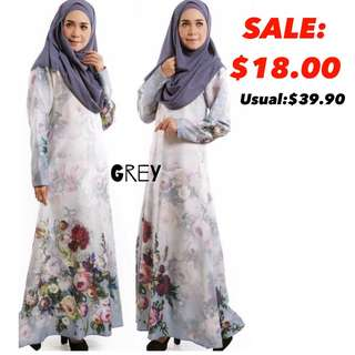 Instocks muslimah jubah dress floral