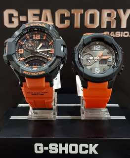 BEST💝SELLING COUPLE SET : 1-YEAR OFFICIAL VALID WARRANTY in NEW ARRIVAL 100% ORIGINAL BABY-G-SHOCK RESISTANT GRAVITY-MASTER WATCH in ABSOLUTELY TOUGHNESS in BLACK / ORANGE Best Gift For Most Rough Users: BABYG : BGA-230-4BDR & GSHOCK GA-1000-4ADR