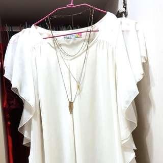 🚚 2% 高品質蝴蝶邊薄紗high end brand ruffle top (excellent quality )