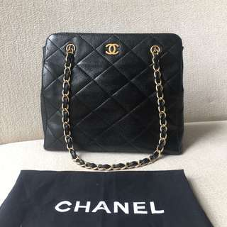 AUTHENTIC CHANEL Caviar Shoulder Tote Bag