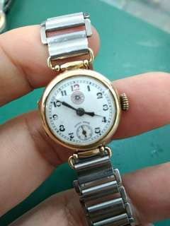 Antique solid gold Roskopf lady watch