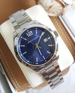 100% Authentic PHILIP STEIN Men's Traveler 92-CBL-SS Swiss Quartz Stainless Steel Casual Watch