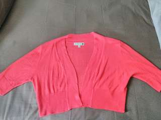 Cotton On crop red cardigan