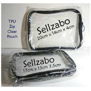 Zip Plain Pouch Bag Clear See Through Waterproof TPU For Toiletries Makeup Cosmetics Skincare Stuff Travel Sellzabo Black Colour Zipper
