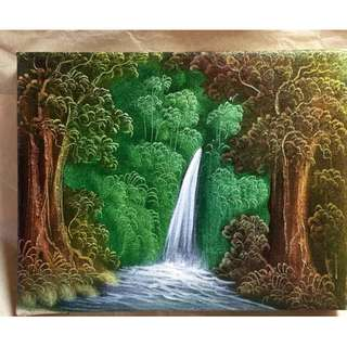 🌳🌿WATERFALL FOREST PAINTING