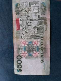 Antique S$500 Singapore note for sale
